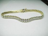 "7.00 Carat Round Diamond Tennis Link Ladies Bracelet 14K Yellow Gold Over 7.25"""