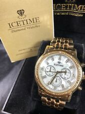 Men's Ice Time Genuine Diamond Watch 40mm Gold Plated Steel Marquis Model