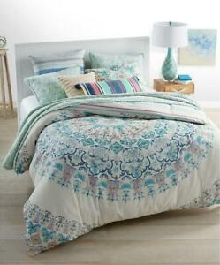 TWIN XL Martha Stewart Whim Full Moon Comforter Mandala Aqua Blue Pink Boho Teal