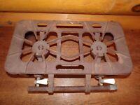 Vintage Antique Superb Cast Iron 2 Burner Camp Stove Tabletop Stove Hotplate