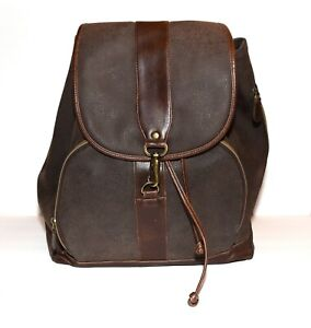 Brown Textured Thick Faux Leather Canvas Straps Zip Around Organizer XL Backpack