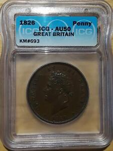 Great Britain 1826 Penny KM 693  ICG Certified AU-50 RARE!