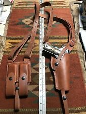Fits Colt Ruger ATI 45 M 1911 Vertical Shoulder Holster Mag Pouch Leather Used