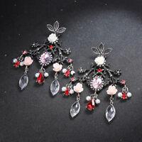 Boucles d'oreilles Argenté Gros Chandelier Feuille Fleur Rose Rouge Retro XX30