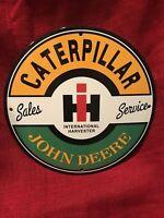 "VINTAGE STYLE ""JOHN DEERE-CATERPILLAR '' GAS & OIL PLATE PORCELAIN SIGN 12 IN"