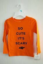 "Carters: Toddler Girl Halloween Shirt "" So Cute it;s Scary"" NEW Size 5"