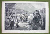 ARTIST Paints Kids in Mountain Village Hard Task - VICTORIAN Era Print Engraving
