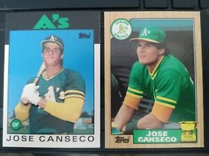 1986 Topps Traded #20T Jose Canseco Rookie Card+1987 All-Star Rookie, Oakland