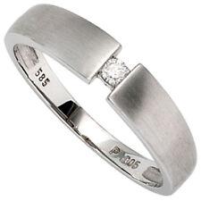 Damen Ring 585 Gold Weißgold matt 1 Diamant Brillant 0,05ct. Gr. 50 -54