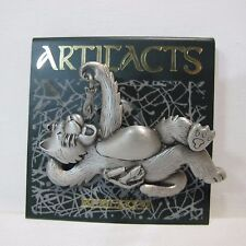 Vintage - Artifact JJ Jonette Jewelry Pewter Pin - Hungry Cat eating a mouse