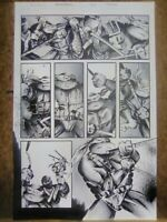 TMNT Original COMIC PAGE Ink Grey Drawing Ninja Turtles cartoon toys film movies