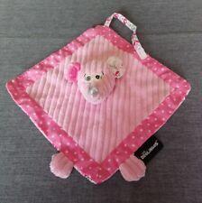 Doudou plat souris rose étoiles fleurs attache tétine les Deglingos + cadeau