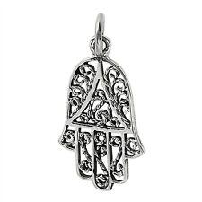 Sterling Silver Filigree Hamsa - Hand of Fatima Charm Pendant