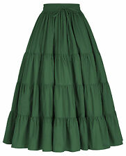 Womens Long Tiered Cotton Maxi Skirt Solid Color Wide Hem Free Size Elastic 2018