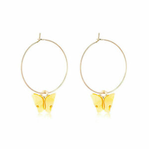 Exquisite Gold Plated Yellow Crystal Cute Butterfly Round Drop Earrings Jewelry
