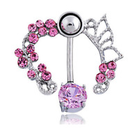 Women Pink Shine Crystal Flower Belly Ring Navel Studs  Body Piercing Jewelry