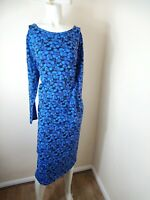 Simply Be Cotton Midi Blue Circle Print Jersey Dress Long Sleeve Bodycon UK20
