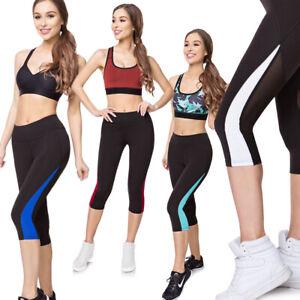 Womens Fitness Capri 3/4 Leggings Solid Activewear Mesh Gym Running Yoga G231