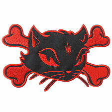 Red Cat Kitty Skull Crossbones Skeleton Lady Rider Biker Iron-On Patches #A093