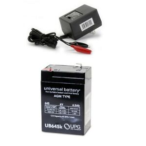 NEW UB645 6V 4.5AH UPS Battery for System Power Specialist LCR6V4BP & Charger