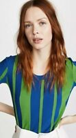 DVF Diane Von Furstenberg Short Sleeve Knit Top Shirt Colorblock Green Blue Sz L
