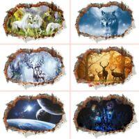 3D Broken Wall Animal Deer Wolf Wall Stickers Living Room Diy Home Mural Decals