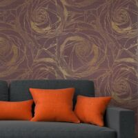 Wallpaper burgundy Gold Metallic Textured Modern large flowers floral Roses 3D