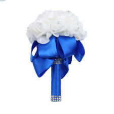 Wedding Bride Bouquet Fake Holding Flower Crystal Bouquets Rose Flower Decor DP