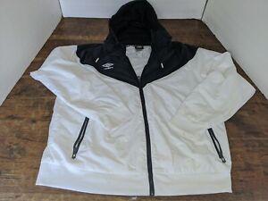 Umbro Hooded Windbreaker Jacket Vtg 90s Full Zip Black White Size XL