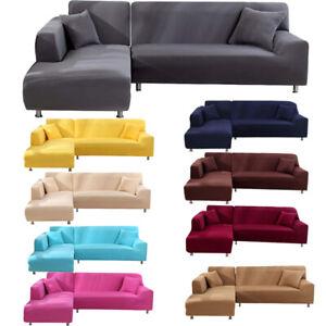 L Shape Stretch Sofa Covers Slipcover Corner Couch Cover Elastic Thin Velvet UK