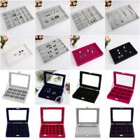 Velvet Glass Jewelry Display Organizer Box Tray Holder Earring Ring Storage Box