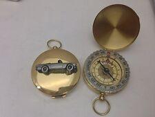 Sunbeam Alpine Mk2 ref241 Pewter Effect car emblem on a Golden Compass