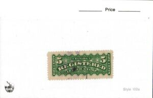 Middlesex Stamp,  Canada 5 cent Registered stamp, used, Cat #F2, Back of Book