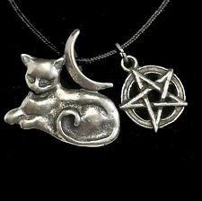 """WICCA PAGAN AMULET """"MYSTIC MOON CAT"""" PENDANT  Abby Willowroot w/CORD + STORYCARD"""