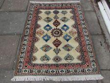 Fine OLD Traditional Hand Made Persian Rug Wool Silk Cream Blue Rug 155x124cm