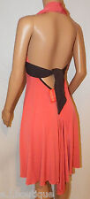 VICKY MARTIN coral BACKLESS halter sash dress cocktail party wedding 8 BNWT