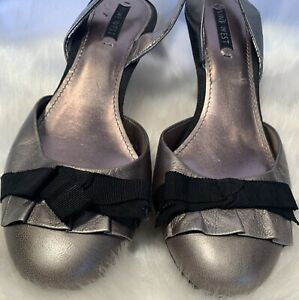 Nine West Women Pewter Metallic Leather Slingback Sandal Shoes Size 8(41)D