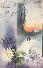 CP ILLUSTREE RAPHAEL TUCK & SONS BONNE ANNEE - PAYSAGE NEIGE FLEURS