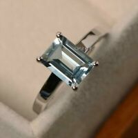 1.5 ct Emerald Cut Blue Aquamarine Engagement Ring Solitaire 14k White Gold Over
