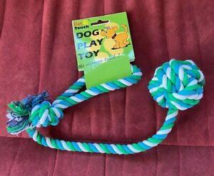 Medium 2-n-1 Ball Rope Tug of War Game Throw Fetch Play Dog Puppy Green Blue
