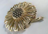 "Vintage Sara Coventry Flower Brooch Pin Gold Tone 3"" Sunflower Daisy Florist"