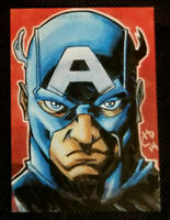 2014 UD CAPTAIN AMERICA 2 1/1 HAND DRAWN SKETCH * CAPTAIN AMERICA * BY EDGE