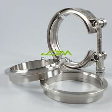 """New Universal 3.0"""" Inch 76mm Stainless Steel Exhaust VBand Clamp and Flanges Kit"""