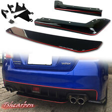 Paint Black & Red for Subaru Wrx STI under diffuser Spoiler + Rear Side Splitter
