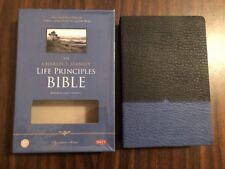 NKJV Charles Stanley Life Principles Study Bible- $74.99 Blue /Black Leathersoft