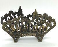 """vintage """"SHALOM JERUSALEM"""" SOLID BRASS NAPKIN HOLDER  envelope/letter ISRAEL"""