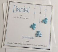 Large Handmade Personalised New Baby Boy or Girl Birth Congratulations Card