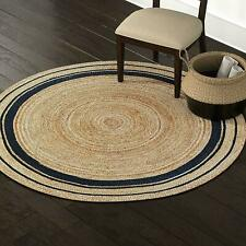 Jute Round Rug 60x 60 cm Vintage Area Floor Mat Living Room Rug Classic Dhurrie
