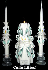 Set of 3 Calla Lily *Your Colors* hand-carved wedding unity candles w/ names!