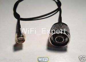 """TIMES LMR100A LOW LOSS COAX CABLE N TYPE MALE TO RP-SMA M/F STRAIGHT ANGLE 4-36"""""""